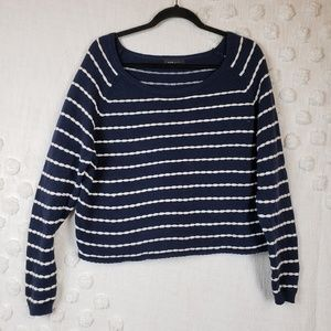 New Look Navy and White Striped Sweater sz 8